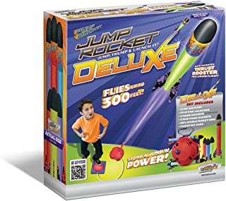 Geospace Jump Rocket Deluxe Set - with Adjustable Launcher, Target and 3 JR + 3 Mini Soft Foam Rockets