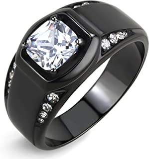 7x7mm Cushion Cut CZ Center Two Row Side Stone Black IP Stainless Steel Mens Ring