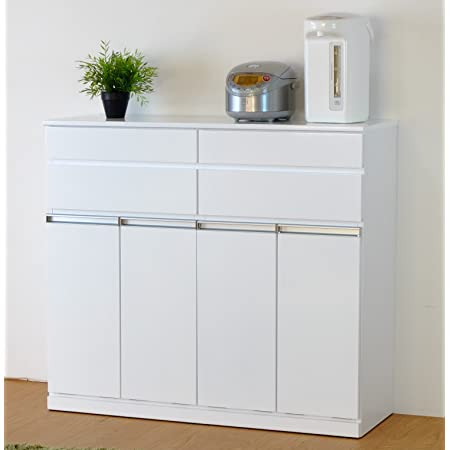 ISSEIKI 【選べる3サイズ】キャビネット 4分別 白 幅109cm 木製家具 大型家具配送 PEARL CABINET 4D (WH)
