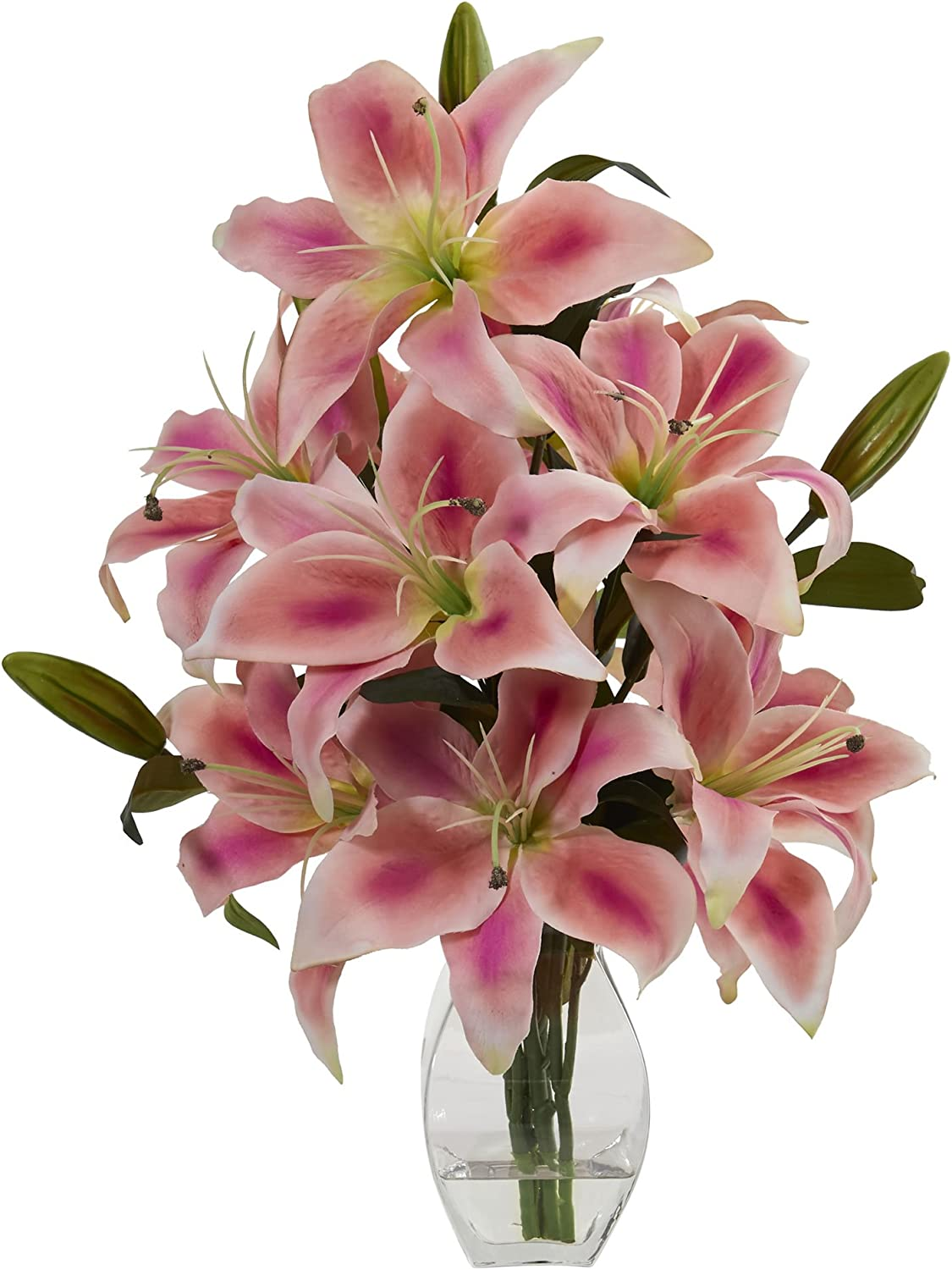 Nearly Natural 1617-PK Rubrum Lily Arrangement in Decorative Vase Artificial Plant, Pink