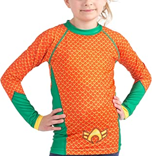 Fusion Aquaman Costume Kids Compression Rash Guard- Long Sleeve