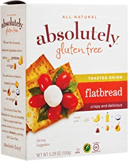 Absolutely Gluten Free Grain Free Toasted Onion Flatbread 5.29oz (3 Pack), Gluten Free, Dairy Free, No Soy, Corn or Rice ,...