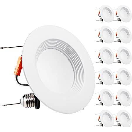 5 // 6 Dimmable LED Downlight Smooth Trim 1100 Lumens 5000K Daylight Recessed Retrofit Lighting Trim 120W Replacement ENERGY STAR UL Listed,TITLE 24 JA8-2016 Compliant 4 Pack 15W