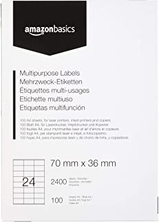 Amazon Basics - Etiquetas de dirección multiusos, 70.0mm x 36.0mm, 100 hojas, 24 etiquetas por hoja, 2400 etiquetas