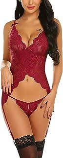 wearella Women Sexy Lingerie Set Lace Teddy Babydoll Bodysuit Chemise Nightwear