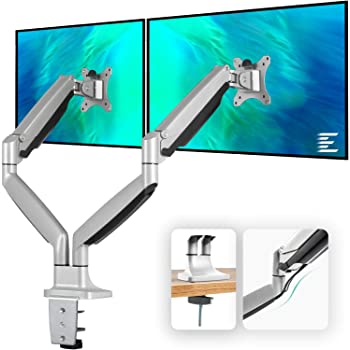 EleTab Dual Monitor Mount Stand Full Motion Swivel Gas Spring LCD Arm Fits for 2 Computer Screens 13 to 32 inches - Each Arm Holds up to 19.8 lbs