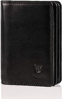 Pranke Genuine Leather Credit Card Case in Antique Brown, black (Black) - BLK-1010