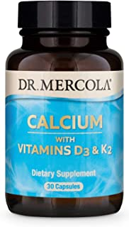 Dr. Mercola, Calcium with Vitamins D3 & K2, 30 Servings (30 Capsules), Non GMO, Soy-Free, Gluten-Free