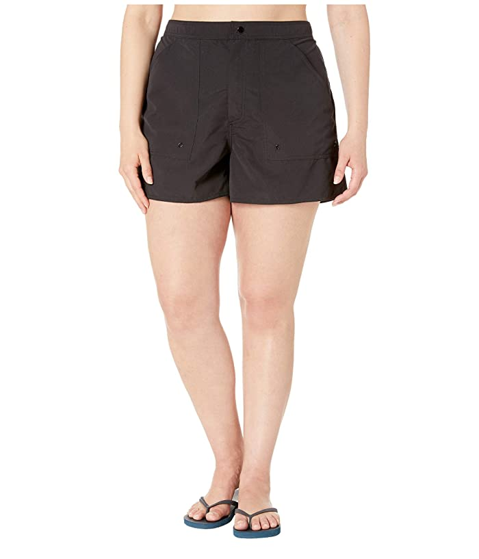 Maxine of Hollywood Swimwear Plus Size Solids Woven Boardshorts (Black) Women