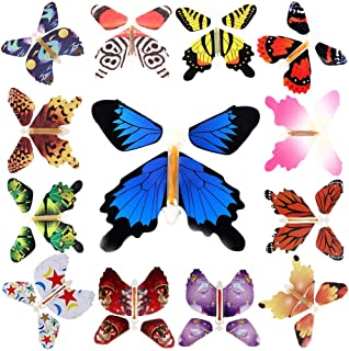 100Pcs Magic Fairy Flying in The Book/Card Butterfly Rubber Band Powered Wind Up Flying Butterfly Toy Great Surprise Weddi...