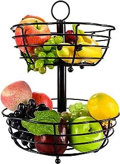 TQVAI 2 Tier Countertop Fruit Basket Bowl Bread Storage - Flower Shape