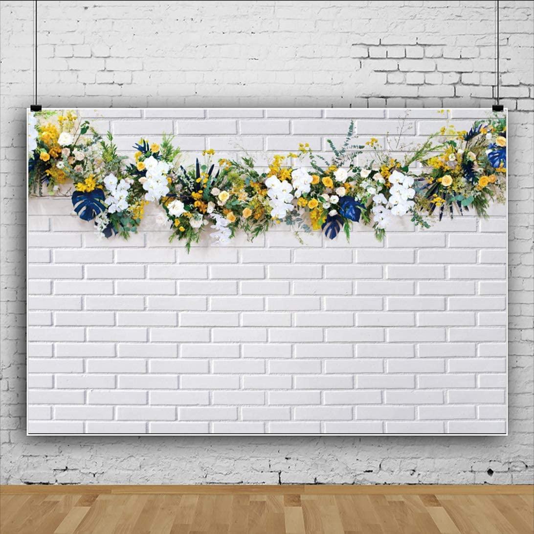 DaShan 6.5x5ft Polyester Brick Wall Flowers Baby Shower Cake Smash Backdrop Wedding Ceremony Floral Tea Party Newborn Decor Floral Bridal Shower Photography Background Engagement Birthday Photo Props