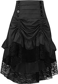 acaeb8c0feb3 Y Fashion Womens Gothic Steampunk Skirt Asymmetrical High Low Dress