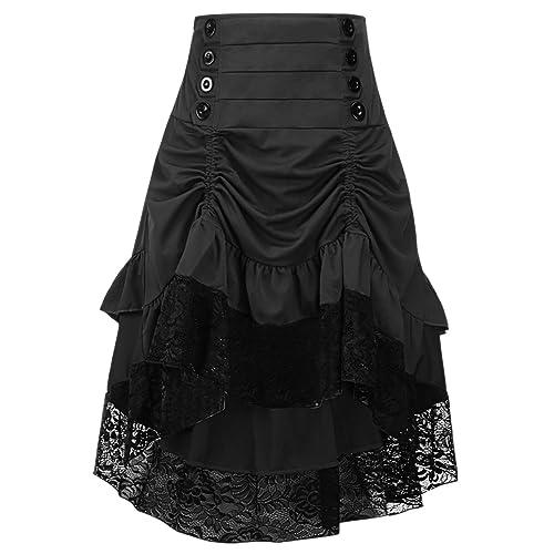 efdcd83334 Y Fashion Womens Gothic Steampunk Skirt Asymmetrical High Low Dress