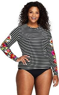 Lands' End Women's Plus Size Long Sleeve Swim Tee Rash Guard Print