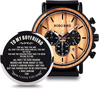 Mens Personalized Engraved Wooden Watches, Stylish Wood & Stainless Steel Combined Quartz Casual Wristwatches for Men Family Friends Customized Gift