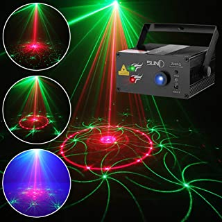 SUNY Music Laser Projector DJ Laser Lights 24 Patterns Red Green Stage Lighting Blue LED Remote Control Sound Activated Xmas Party Indoor Family Wedding Decoration Carnival Holiday Bar Disco Show