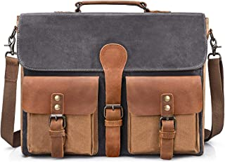 Mens Messenger Bag Vintage Genuine Leather Large Laptop Briefcase 15.6 Inch Waterproof Waxed Canvas Satchel Shoulder Bag Rugged Leather Computer Work Bags Grey