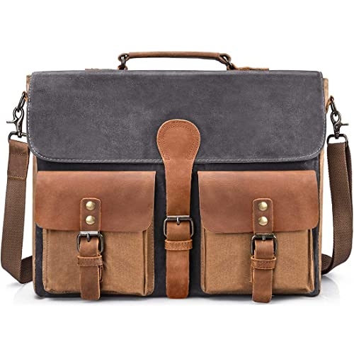 154e296c9d7a Mens Messenger Bag Vintage Genuine Leather Large Laptop Briefcase 15.6 Inch  Waterproof Waxed Canvas Satchel Shoulder