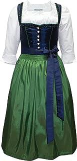Kaiser Franz Josef Dirndl Trachten-Kleid Trachtenkleid Balkonett Dirndlkleid TAFT blau grün handgearbeitete Borte Festtracht Marineblau mit Schürze Ballkleid dunkelblau Made in Austria