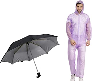 Vistas Men's Combo of Transparent Rainsuit with Black Umbrella (Transp. Rainsuit|Black Umbrella)