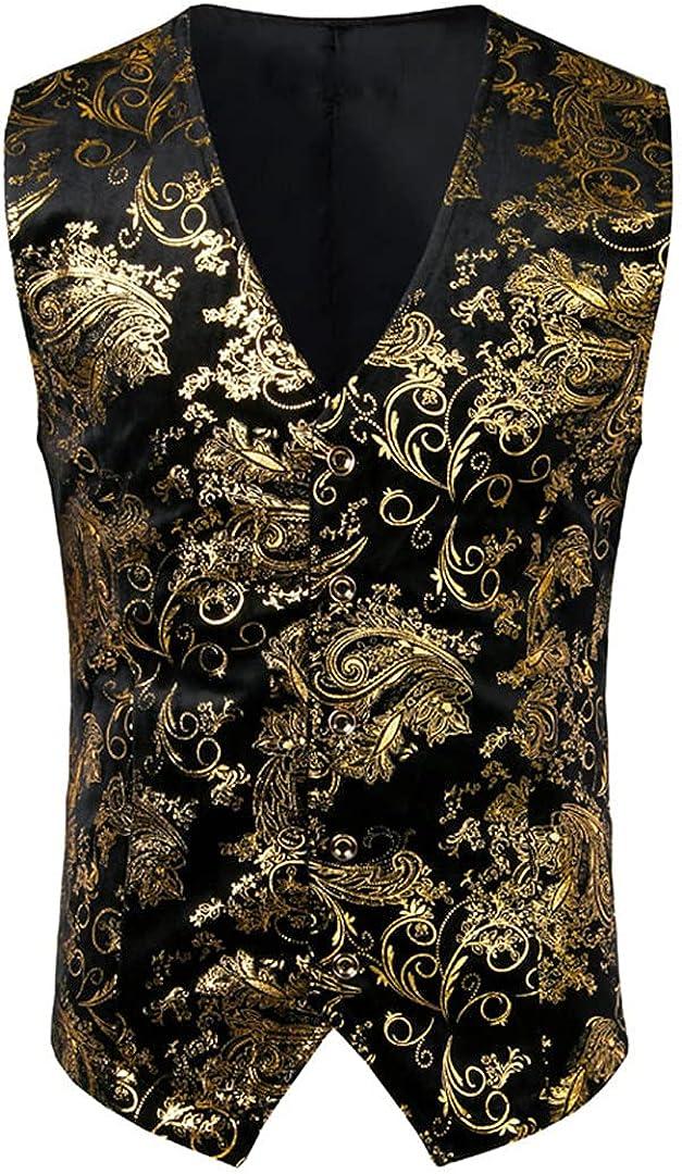 Ciystekn Mens Vest Jacket Waistcoat Breasted V-Neck Suit Vest Tuxedo Waistcoat Gilet