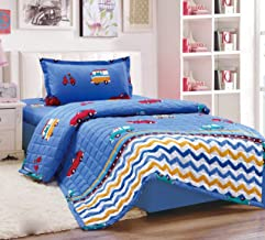 Kids 3Pcs Compressed Comforter Set, Single Size, Cars 3, Blue,