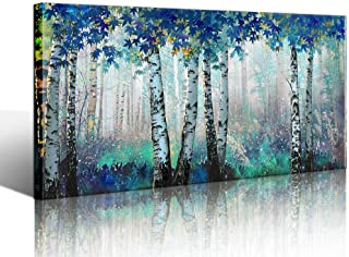 Yiijeah Large White Birch Forest Wall Art Decor Canvas Picture Print Blue Green Tree Blue Maple Leaf Plant Living Room Bedroom Bathroom Office Modern Framed Artwork Home Kitchen Decoration