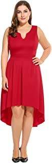IN'VOLAND Involand Women Plus Size High Low Pleated Skater Sleeveless Cotton Dress with Empire Waist L-4XL