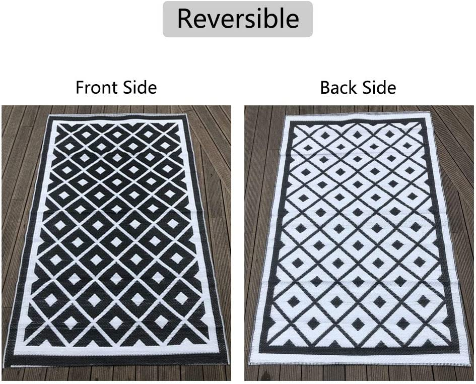 Backyard Trailer Deck Patio Black /& White Picnic Camping Fade Resistant CHICBAKE Outdoor Rug Reversible Mats 5 /× 8,Plastic Straw Area Rug Large Floor Mat for RV Beach
