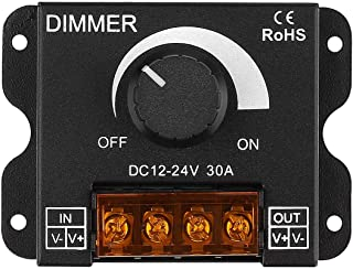 RGBZONE 12V/24V DC 30A LED PWM Dimmer Controller ON/Off Switch with Metal Shell for Single Color 5050 3538 5630LED Strip Lights Ribbon