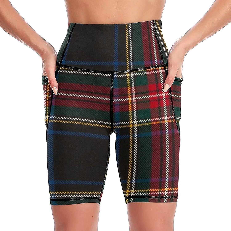 Shenghengyu Stewart Black Tartan Women's Side High quality Short 70% OFF Outlet Pockets Yoga