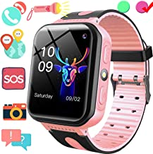 Kids Smart Watch GPS Tracker, Phone Smart Watch for Boys Girls, 1.5'' Touchscreen GPS Game Smartwatch with SIM Slot Anti Lost SOS Voice Chat Camera Flashlight Wearable Phone Wrist Watch Birthday Gift