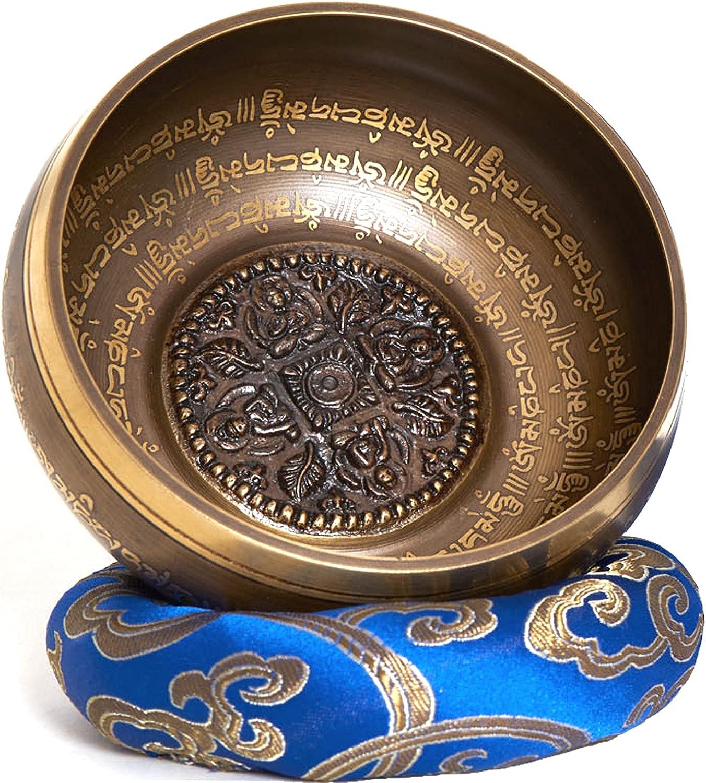 Cuenco tibetano hecho a mano en Nepal – 600g – 14cm – 5 metales – badajo de palisandro con cuero – caja de papel Nepali