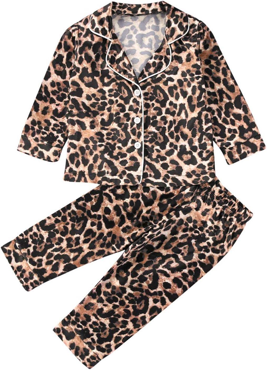 Toddler Baby Kids Satin Pajamas Set, Long Sleeve Button-Down Sleepwear PJs for Girls