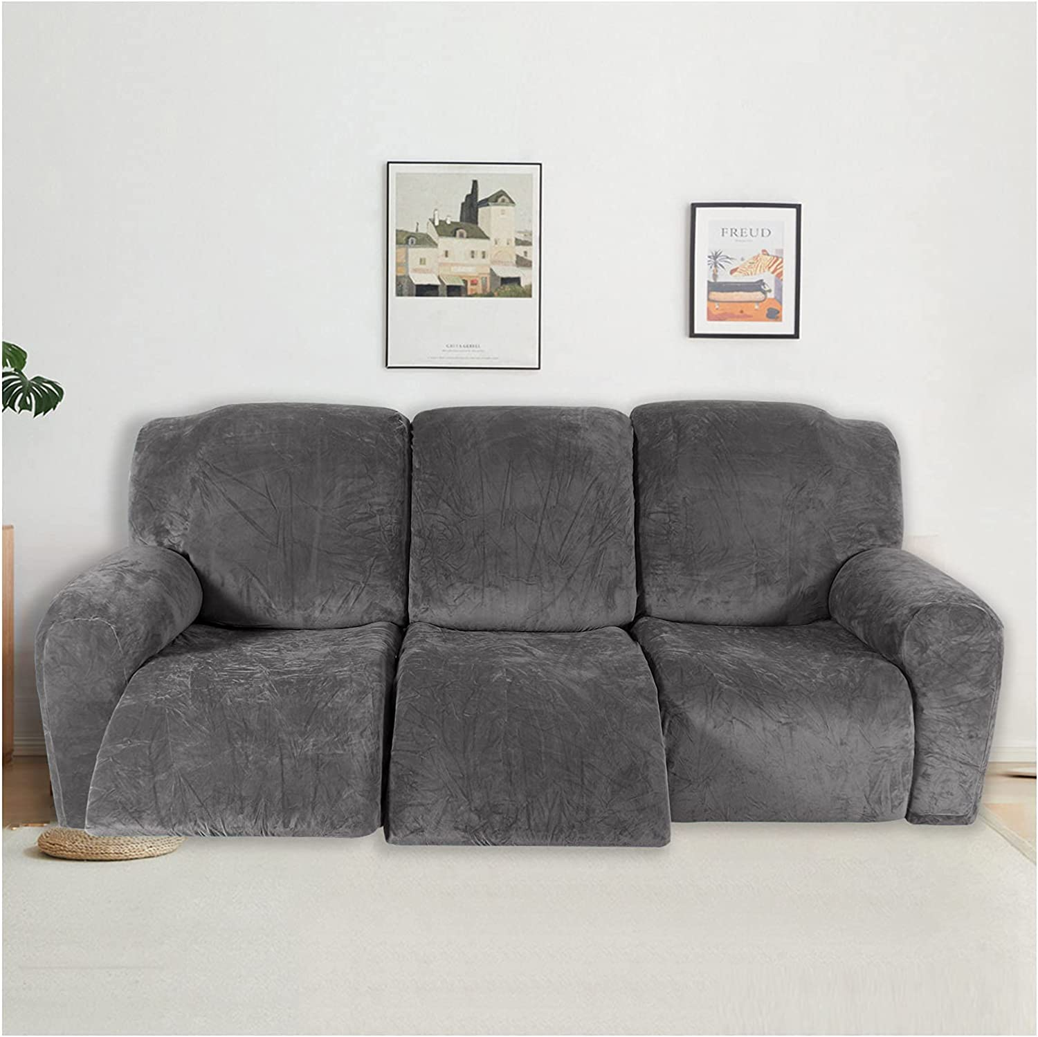 HUANXA NEW 8-Piece Velvet Recliner 3 Cover Stretch Seater OFFicial mail order
