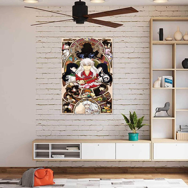 P/óster de tela de seda gerFogoo Anime Inuyasha para decoraci/ón del hogar 20 x 30 cm
