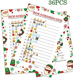 Christmas Party Game - Sing Me an Emoji - Xmas Holiday School Family Class Activity Party Supplies 36players