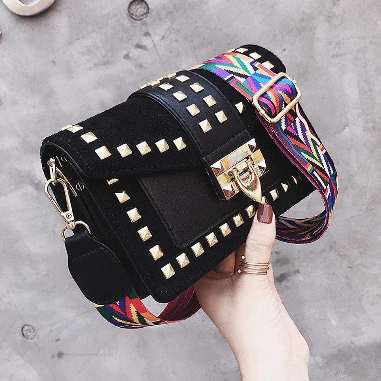 JQSM Wide Shoulder Strap Small Square Bag Fashion Rivet Sbody Bag Female Bags Messenger Bag Women