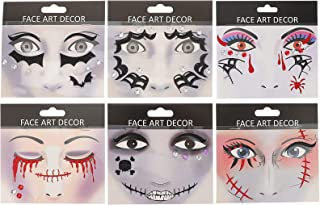 Beaupretty 6 vellen gezichtstatoeages, stickers, Halloween, make-up, tattoo, decoratie, tattoo voor festivals en feesten