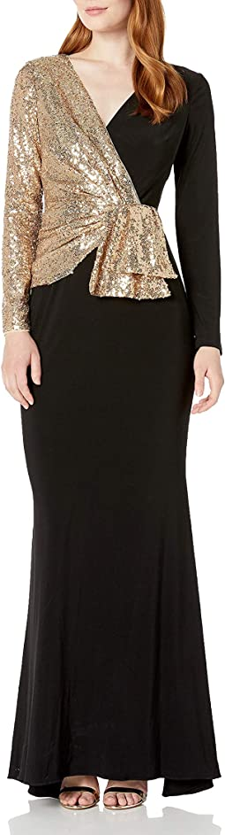 Sequin Jersey Mixed Gown