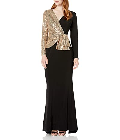 Adrianna Papell Sequin Jersey Mixed Gown