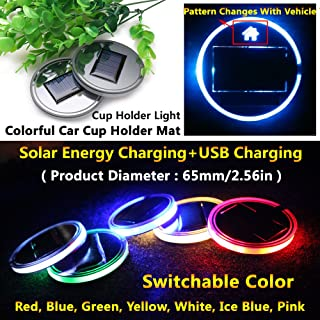 (Pack of 1) Solar Energy LED Car Cup Holder Bottom Pad Mat Interior Lights Fitment Trim for volkswagen tiguan vw up scirocco phaeton eos jetta light beetle cc passat beetle golf mk4 amarok accessories