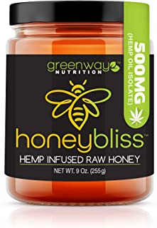 Honeybliss – Raw Clover Honey with 500mg Hemp Extract - 9oz Glass Jar   100% Pure, Unfiltered Raw Honey Infused with Organ...