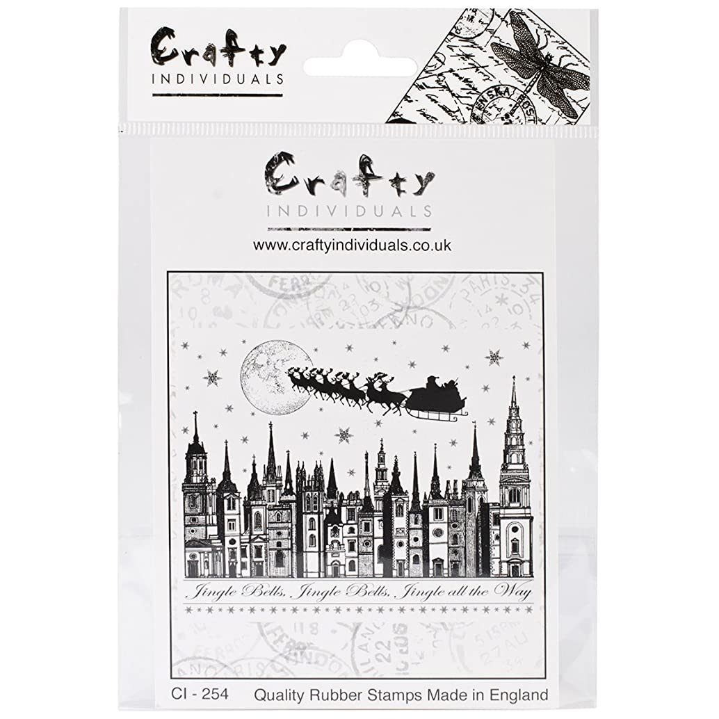 Crafty Individuals CI-254 Unmounted Rubber Stamp, Jingle Bells Rooftops