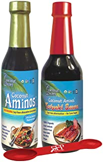 Coconut Secret Variety Pack: (1) COCONUT AMINOS SOY FREE SAUCE, 8 Oz. And (1) GLUTEN FREE TERIYAKI SAUCE 10 Oz., Great for...