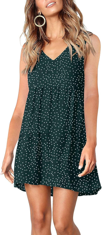 Amoretu Women's V Neck Casual T Shirt Dress Loose Swing Tunic Dresses