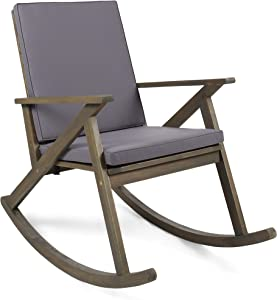 Christopher Knight Home 304341 Louise Outdoor Acacia Wood Rocking Chair, Grey/Grey Cushion