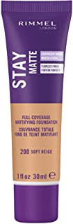 Rimmel Stay Matte Foundation Soft Beige 1 Fluid Ounce Bottle Soft Matte Powder Finish Foundation for a Naturally Flawless ...