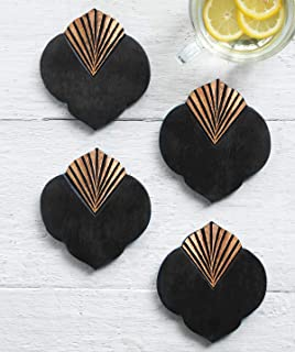 Valentine Gifts Set of 4 Wood T Coasters for Drink Absorbent Vintage Cool Handmade Bar Home Office Kitchen Dining Decor Gold Foil Faded Collection Decorations Gifts by storeindya